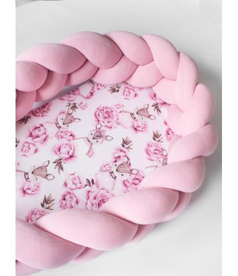 KŪDIKIO LIZDELIS elniukas rožinis - vaiko kambario baldai, vaikiskos lovos, lovos vaikams, vaikiskos lovytes, dviaukste lova