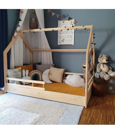 Lova namelis A1 natūralios medienos - vaiko kambario baldai, vaikiskos lovos, lovos vaikams, vaikiskos lovytes, dviaukste lova