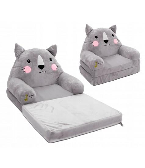 Minkštas fotelis Katinas - vaiko kambario baldai, vaikiskos lovos, lovos vaikams, vaikiskos lovytes, dviaukste lova